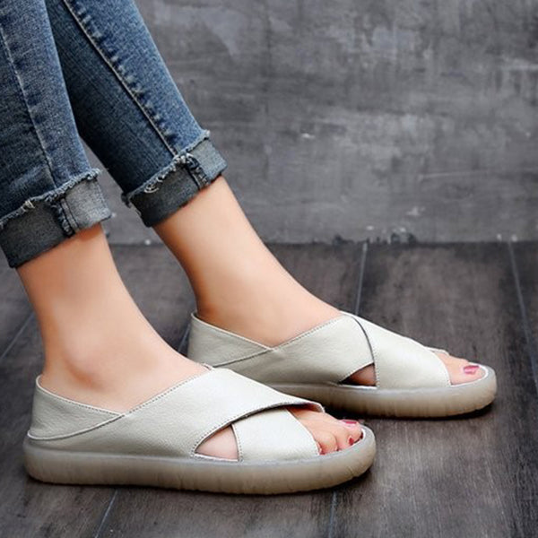 Women Faux Leather Casual Comfort Peep Toe Sandals