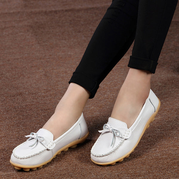 Round Toe Women Cowhide Slip-On Flats
