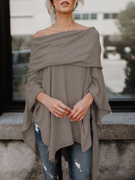 Asymmetrical Batwing Sleeve Off Shoulder Pullover Blouse