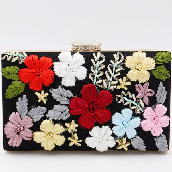 Multicolor Polyester Clasp Lock Evening Clutch