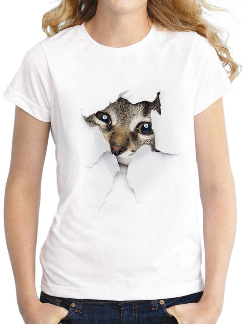 Casual Crew Neck Animal Printed T-Shirts
