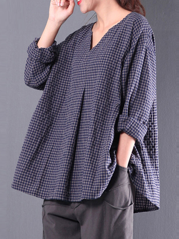 Casual 3/4 Sleeve Gingham Linen Blouse