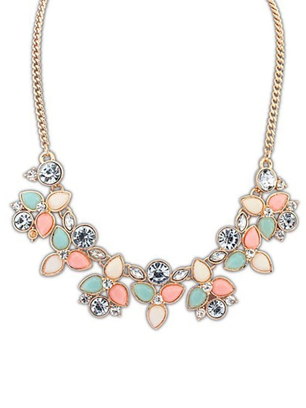 Womens Alloy Flowers Necklaces