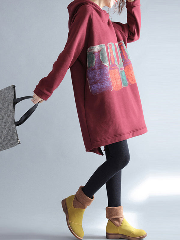Colorful Bottle Printed Shift  Casual Hoodie