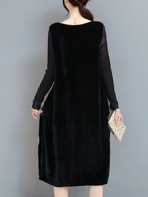 Casual Cocoon Long Sleeve Geometric Pockets Dress