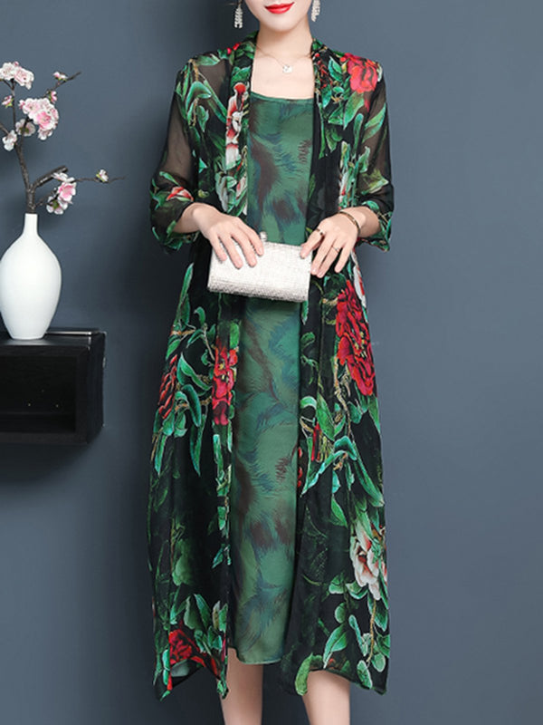 Green Floral Printed Elegant 3/4 Sleeve Chiffon Dress