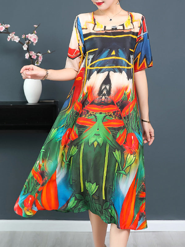 Multicolor Casual Abstract Printed Satin Dress