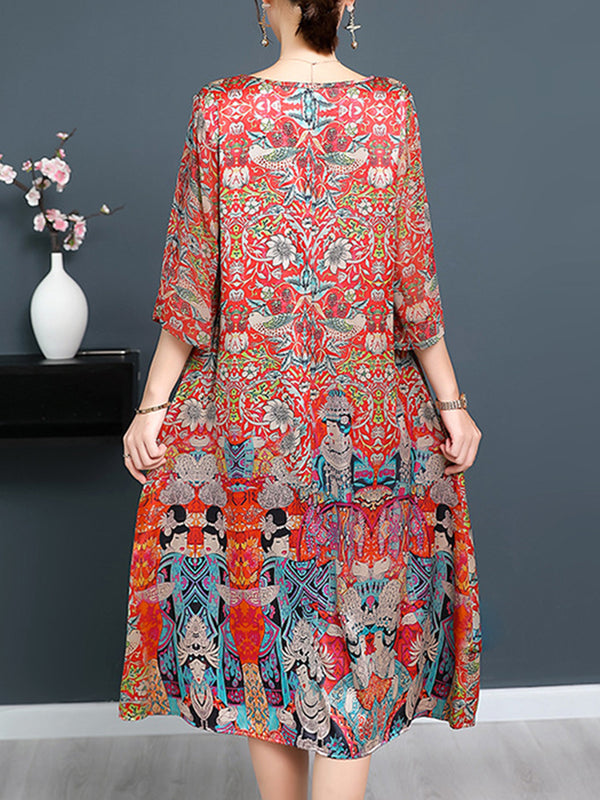 Red Casual Printed 3/4 Sleeve Satin Dress