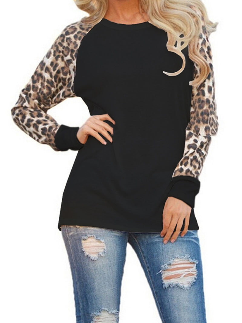 Leopard Print Raglan Sleeve Paneled Casual Plus Size T-Shirt