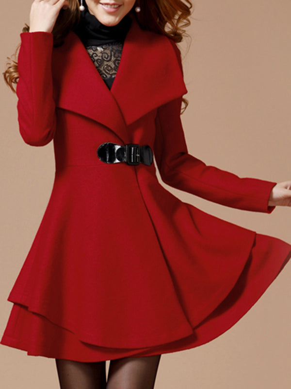 Casual Wool Blend Shawl Collar Long Sleeve Dress