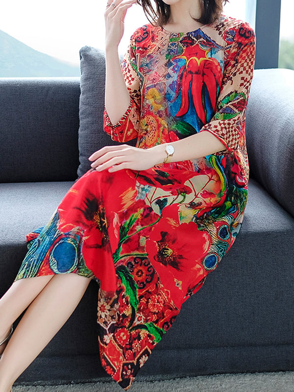 Crew Neck Women Dresses Shift Daily Printed Dresses