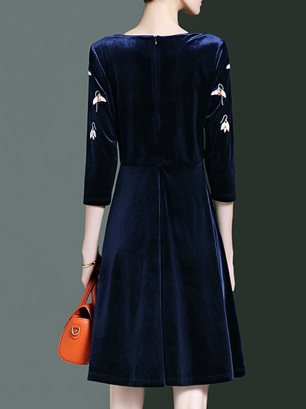 Dark Blue Dresses Shift Daily Velvet Dresses