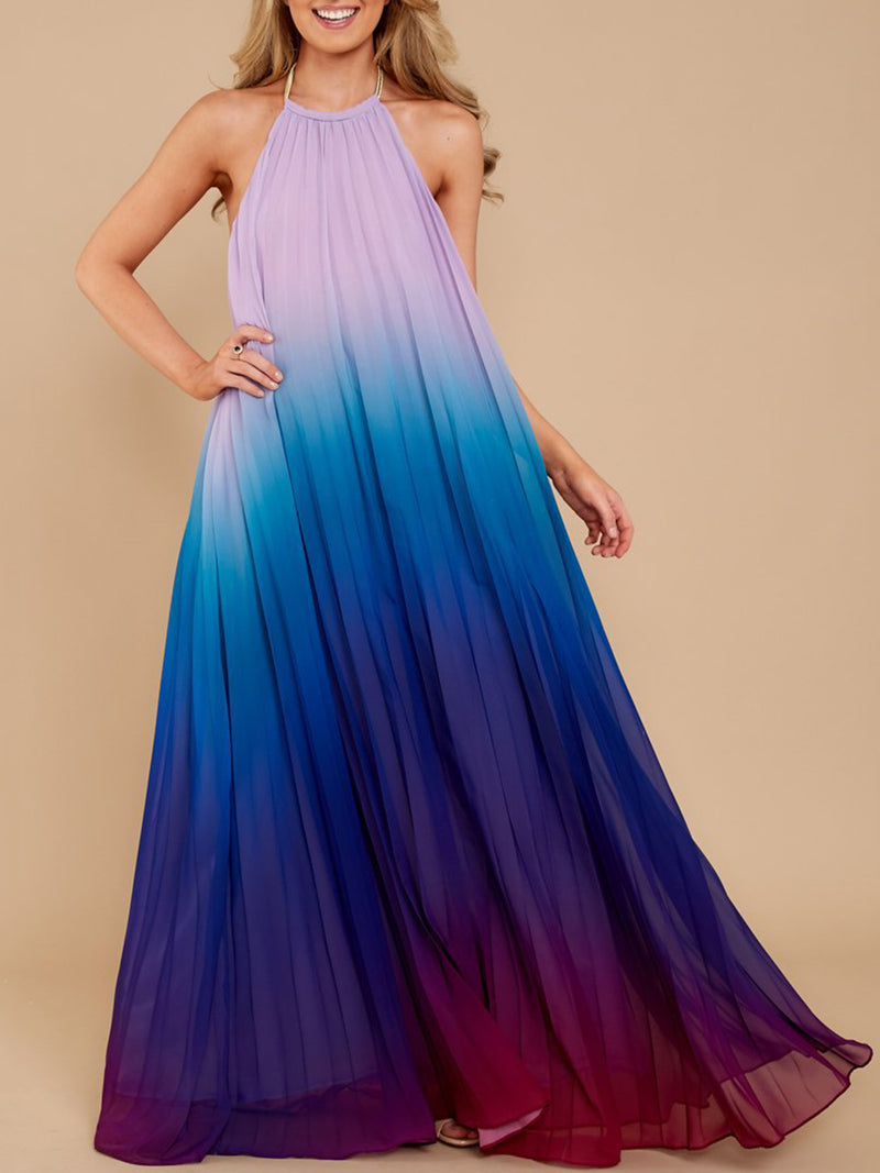 Boho Halter Gradient Maxi Chiffon Dress