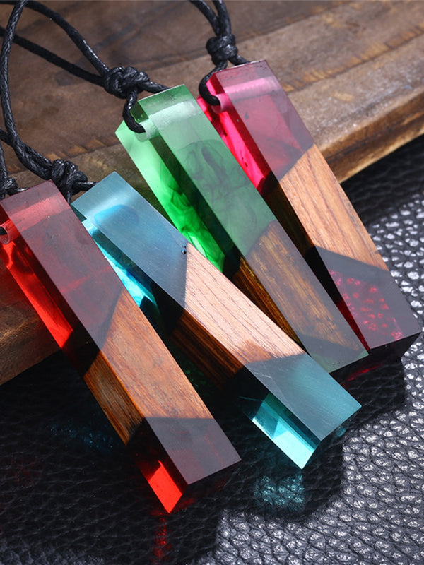 Resin Square Transparent Sweater Necklace
