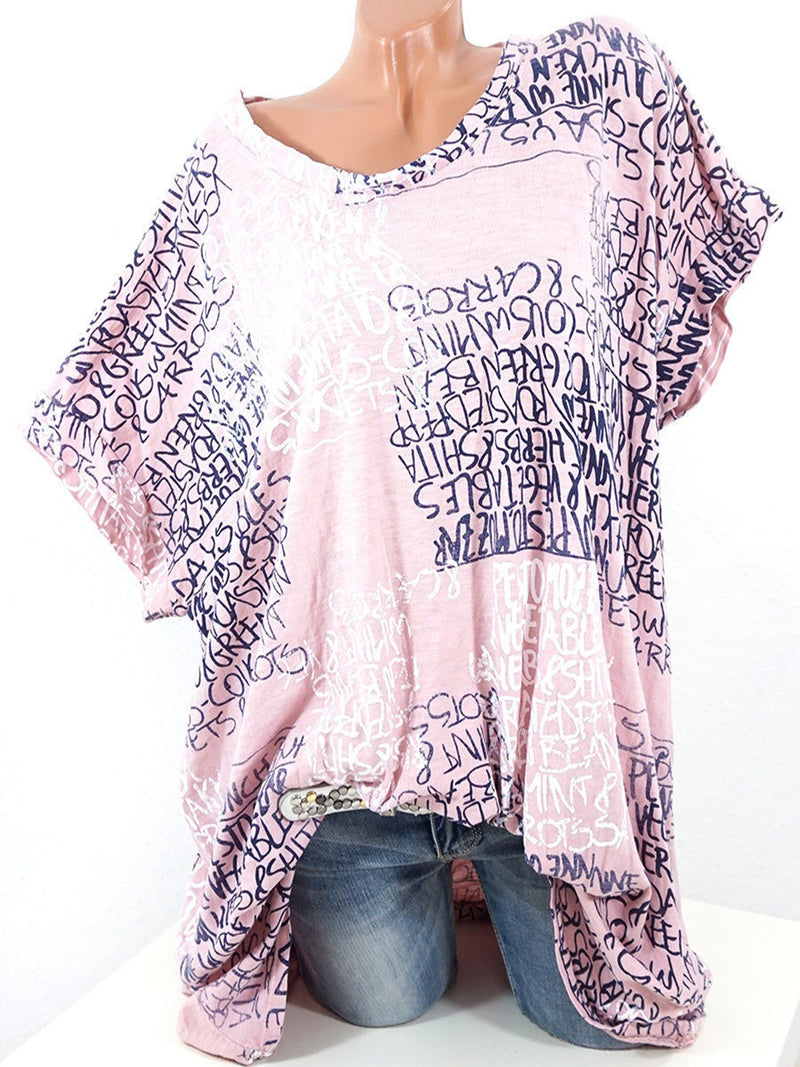 Casual Printed Crew Neck Letter Plus Size Tee