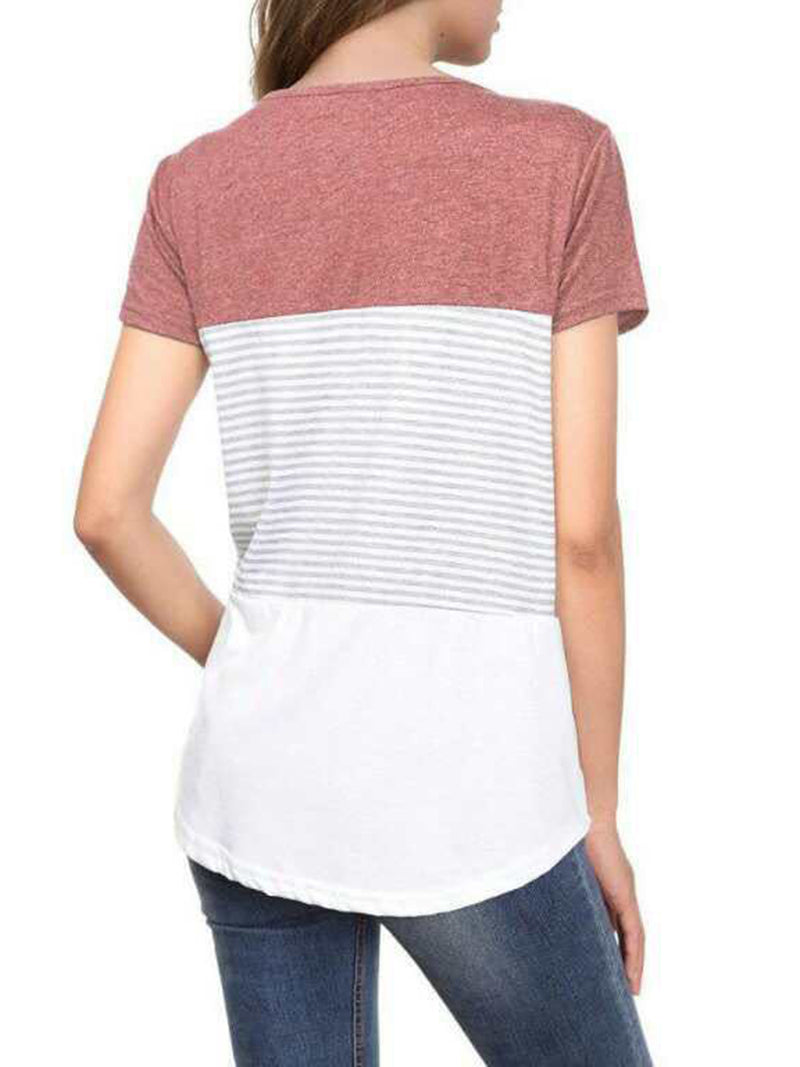 Crew Neck Casual Printed Striped Comfortable Paneled Top