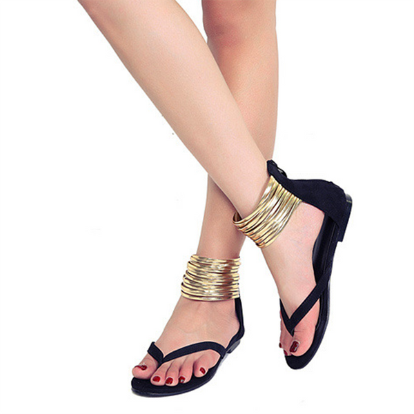 Artificial Leather Chain Summer Flat Heel Casual Slipper