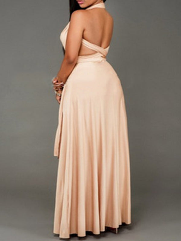 Beige Halter Gathered Casual Maxi Dress