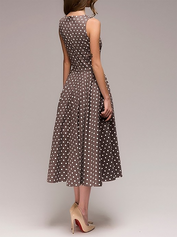 Women Elegant Dress Swing Daytime Paneled Polka Dots Dress