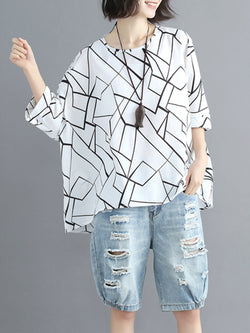 Plus Size Chiffon Casual Graphic Blouses & Shirt