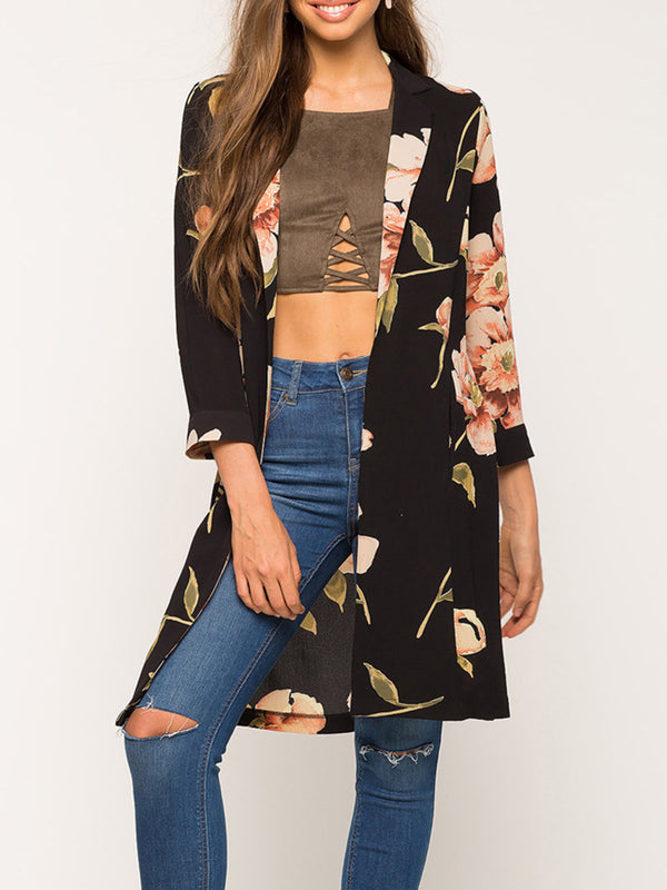 Elegant Black Casual Printed Floral Shift Long Sleeve Printed Pockets Coat
