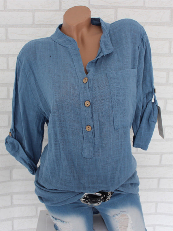 Pockets Casual Solid Plus Size Blouse