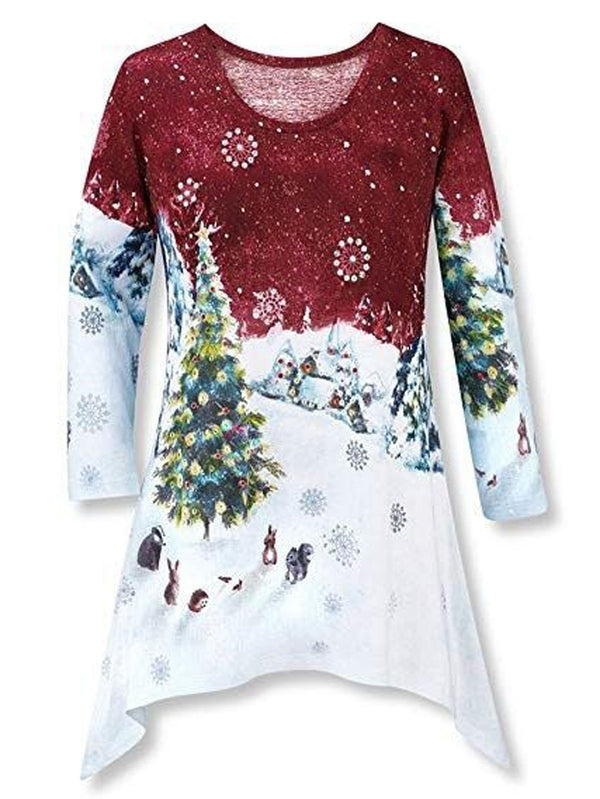Christams Printed Crew Neck Irregular Blouse