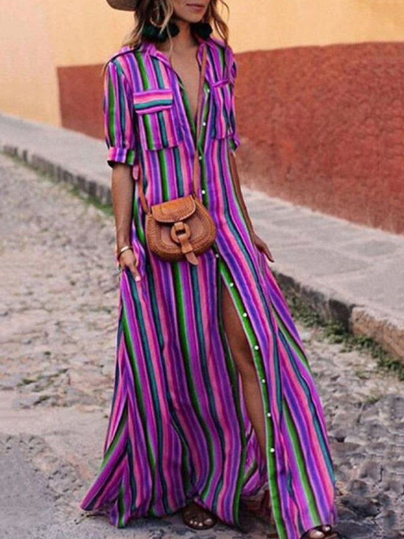 Button Down Collar Stripes Half Sleeve Plus Size Maxi Dress