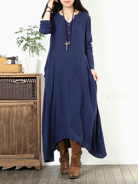Asymmetrical Long Sleeve Pockets V Neck Buttoned Dress