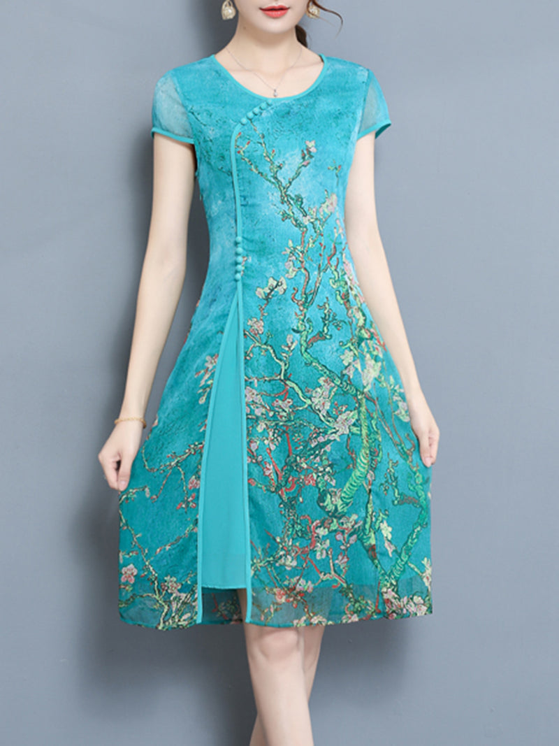 Paneled Vintage Floral Printed Short Sleeve Plus Size Dress