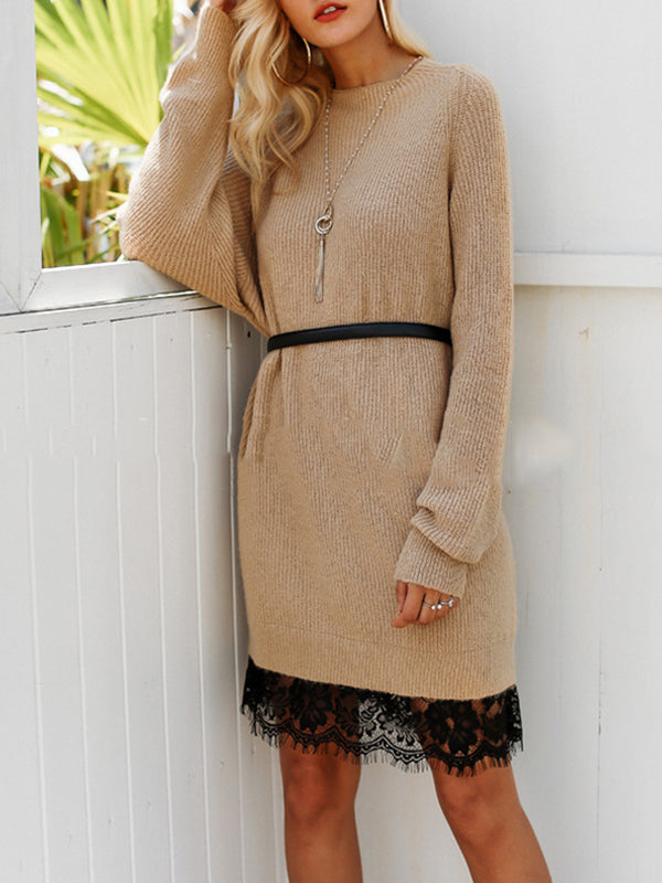 Sheer Lace Paneled Knitted Sweater Dress