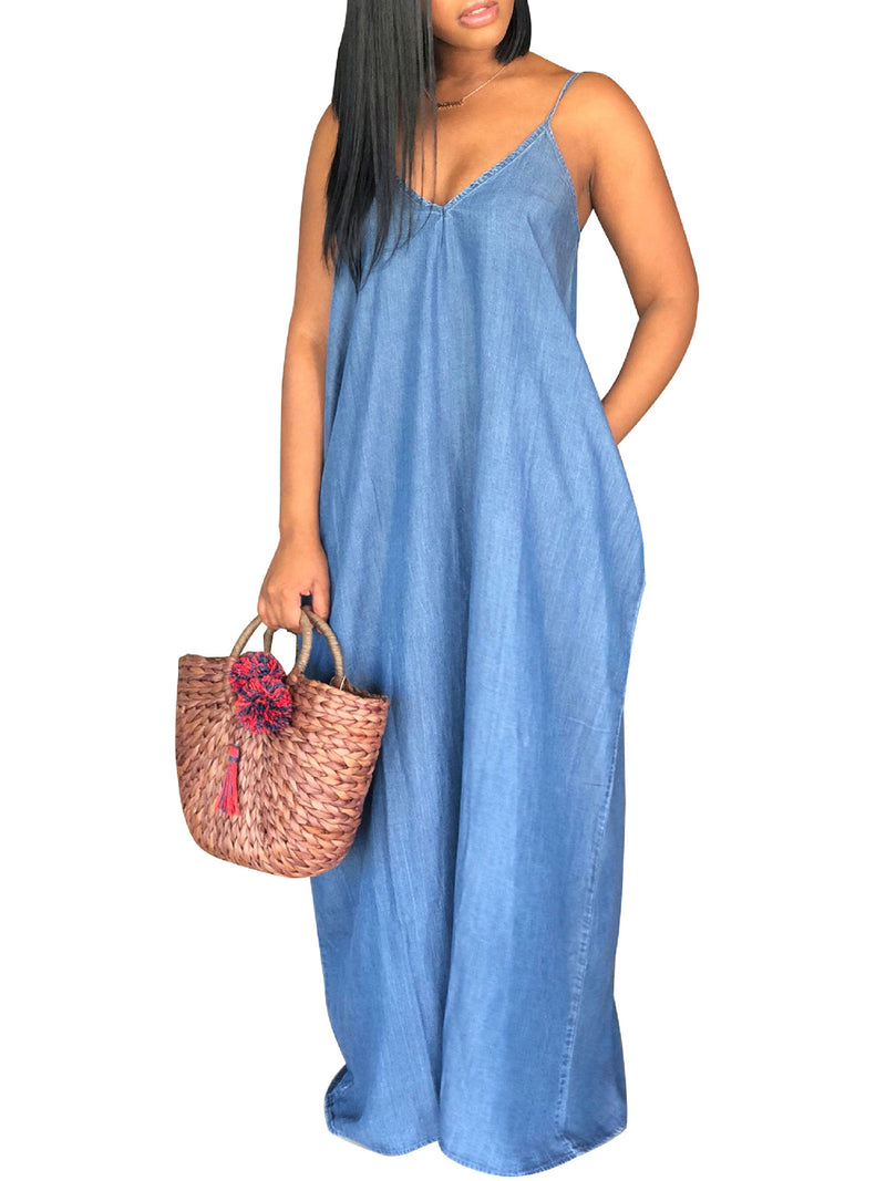 Sleeveless Casual Paneled Solid Shift Maxi Dress