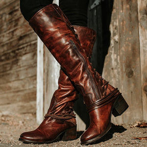 Women Vintage Lace Up European Style Bandage Above Knee Boots