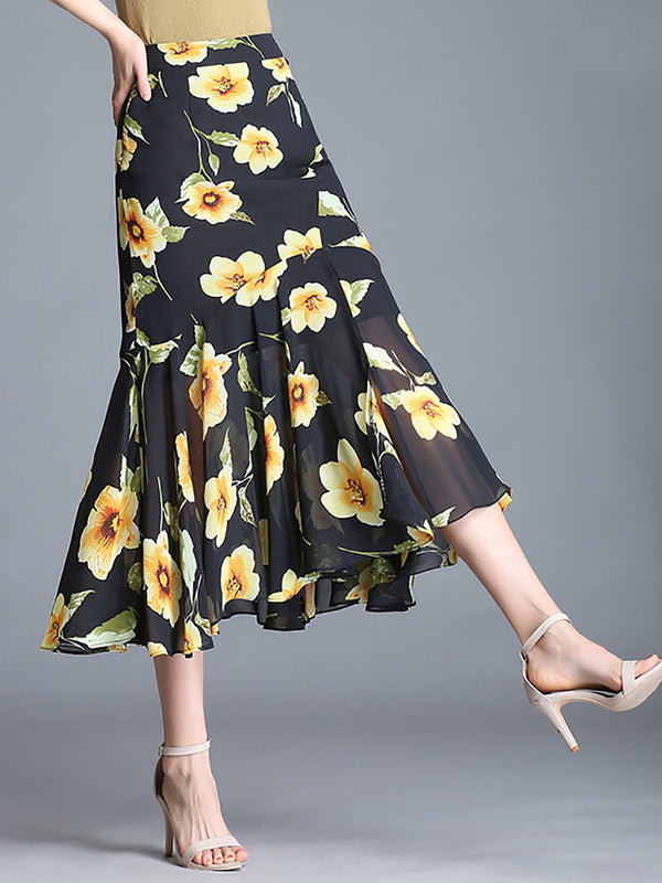 Floral Gathered Holiday Plus Size Chiffon Midi Skirts