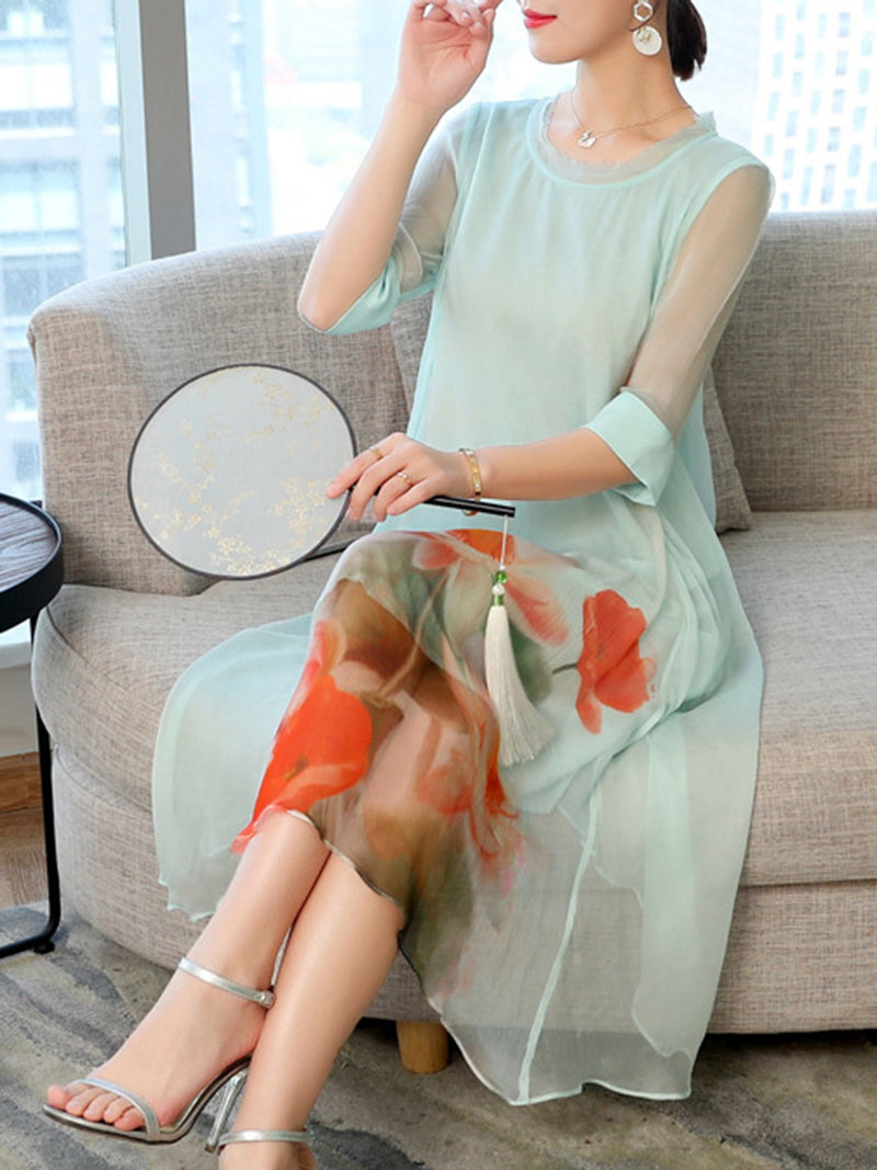 Light Blue Crew Neck Casual Printed 3/4 Sleeve Chiffon Dress