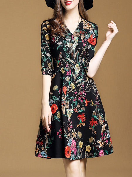 Black Elegant Floral V-Neck Half Sleeve Midi Dress