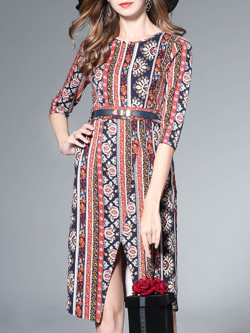 Multicolor Vintage Printed Midi Slit Dress