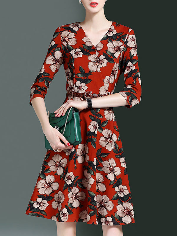Elegant Surplice Neck Printed Floral Midi A-line Dress