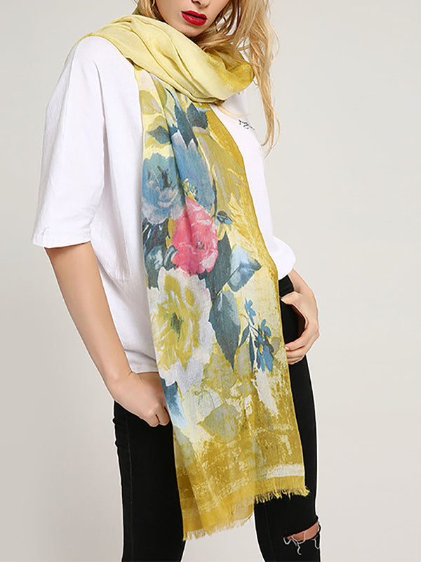 Floral Printed Casual Linen Scarf