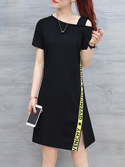 Slash Neck Short Sleeve Slit Casual Plus Size Dress
