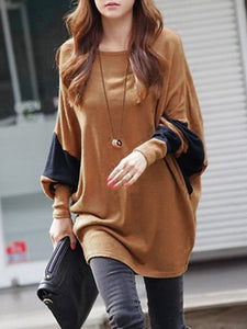 Long Sleeve Paneled Crew Neck H-line Tunic