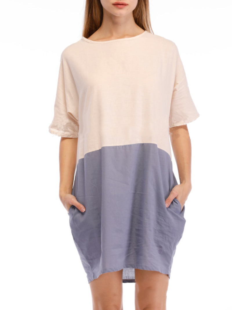 Pink Casual Color-block Crew Neck A-line Dress