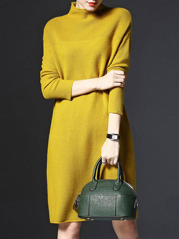 H-line Solid Casual Long Sleeve Knitted Plus Size Sweater Dress