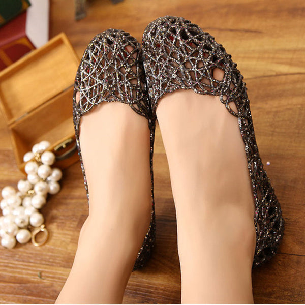 Women PVC Crystal Flats Casual Summer Beach Shoes