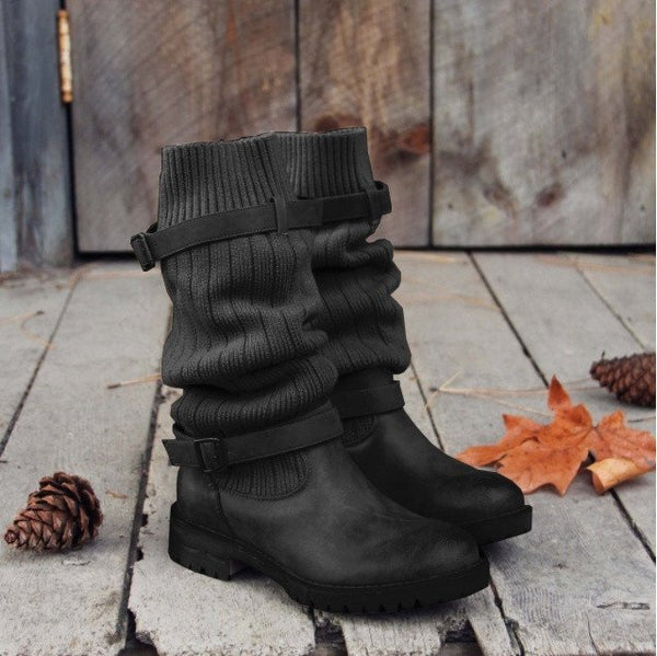 Comfy Cabin Sweater PU Paneled Vintage Adjustable Buckle Casual Boots