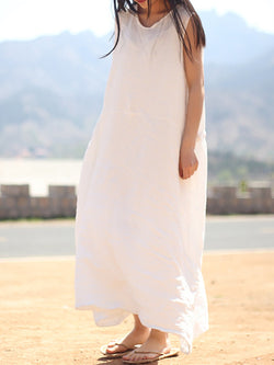 Casual Shift Paneled Sleeveless Crew Neck Linen Dress