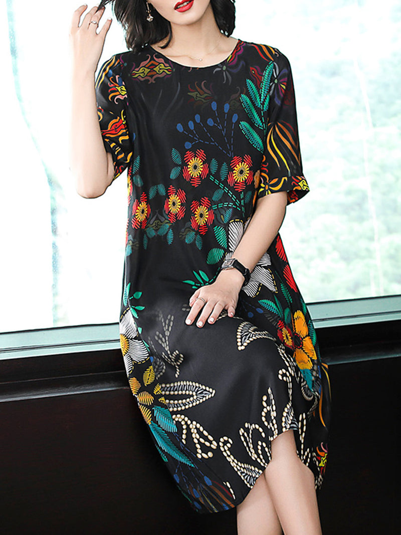 Black Crew Neck Casual Shift Leaf Printed Dress