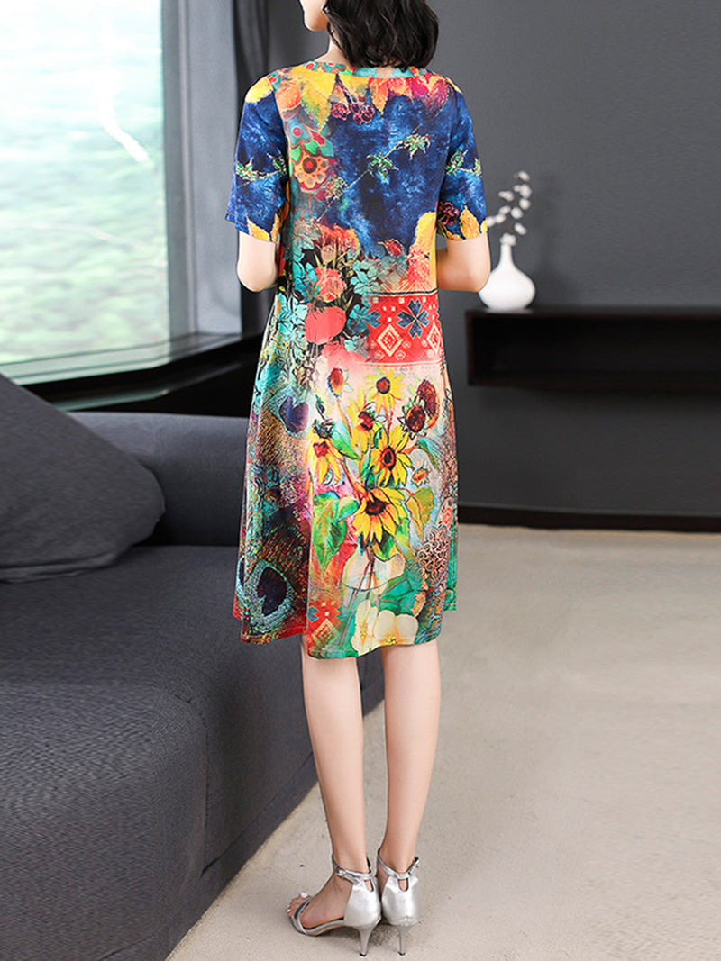 Multicolor Printed Casual Crew Neck Short Sleeve Dress