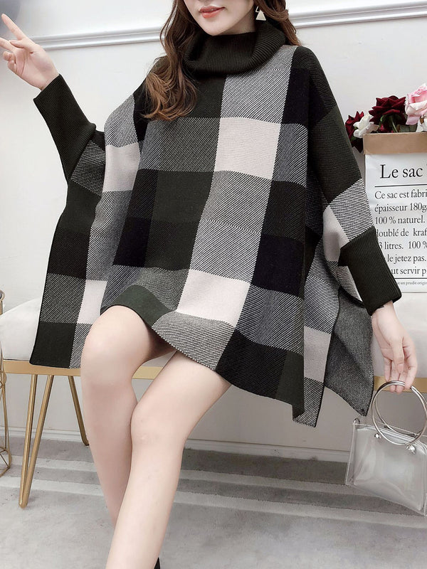 Knitted Cowl Neck Checkered Elegant Cloak Sweater