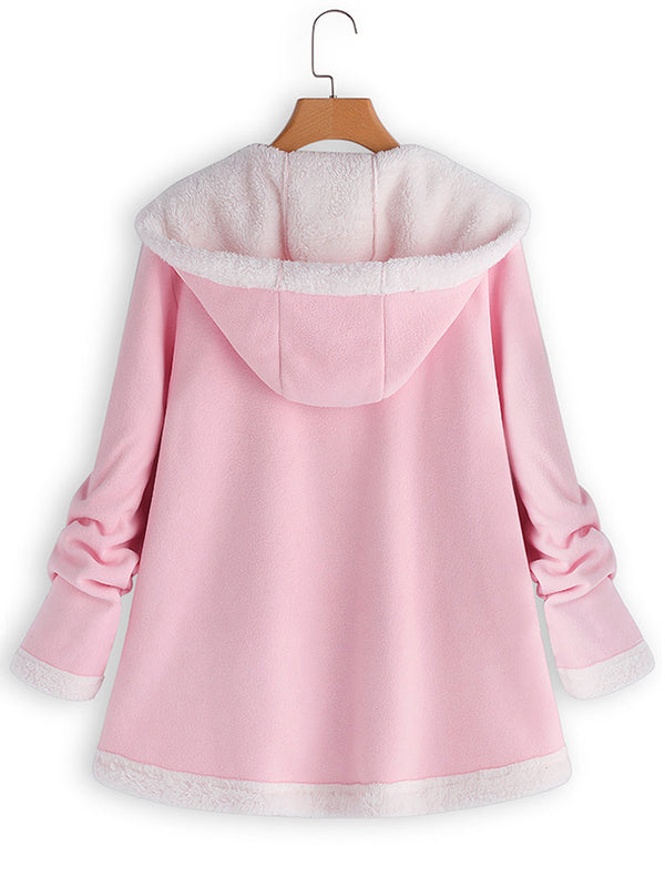 Casual Hooded Zipper Pocket Long Sleeve Fleece Coat